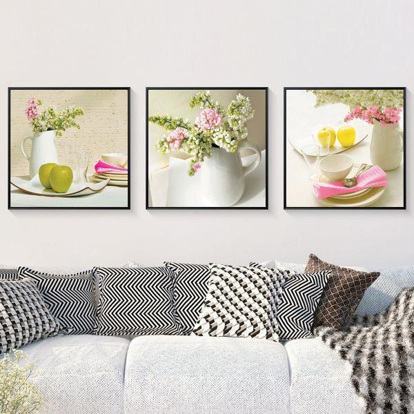 Bộ 3 tranh bình hoa và quả táo xanh trắng hồng CV0398