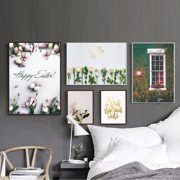 Bộ 5 tranh hoa lá treo tường phòng ngủ MS053