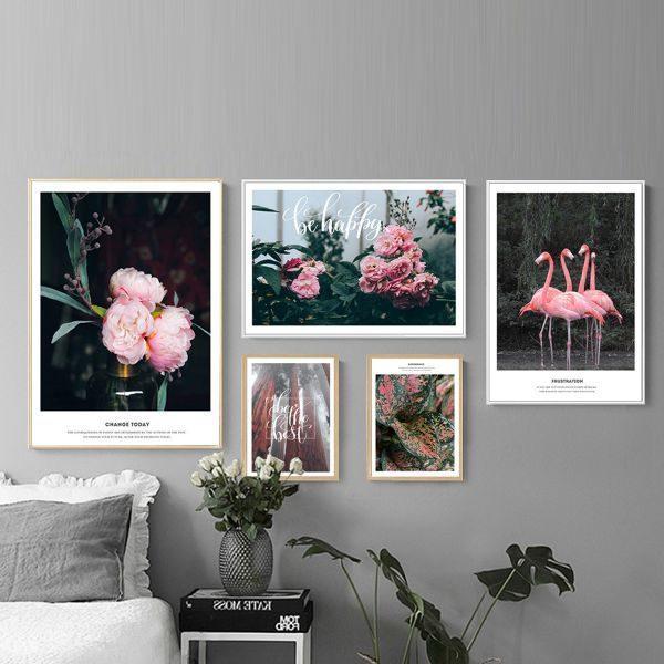 Bộ 5 tranh thiên nhiên hạc và hoa hồng hiện đại MS0572