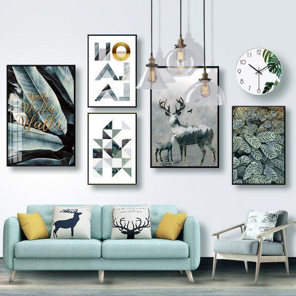 Bộ 5 tranh trừu tượng hươu lá xám và khối hình nghệ thuật MS0573