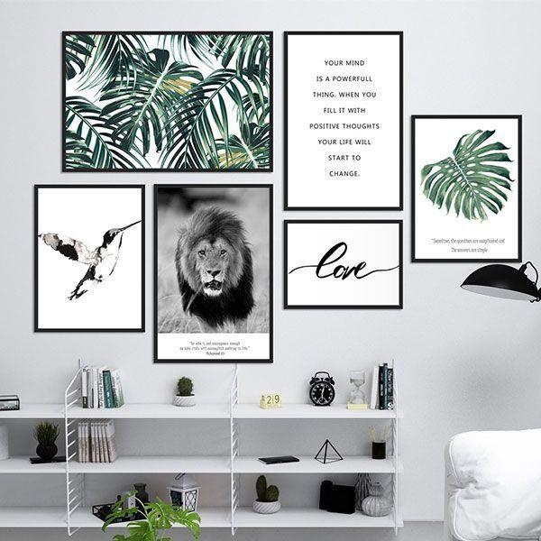 Bộ 6 khung tranh treo tường thiên nhiên, động vật và chữ MS0616