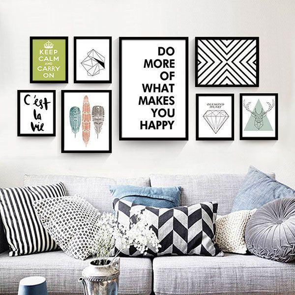 Bộ 8 tranh treo tường phòng khách sáng tạo MS071