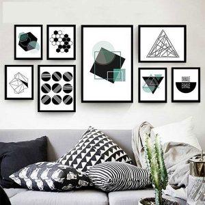 Bộ 8 khung tranh treo tường phòng khách MS081