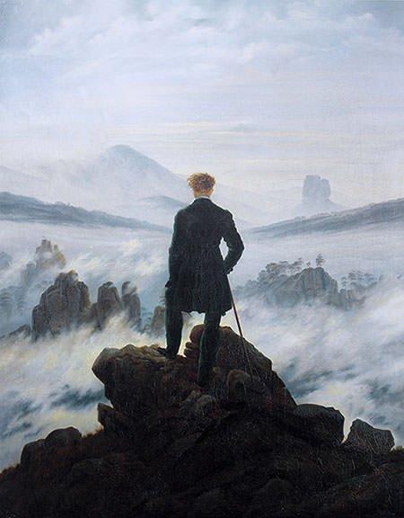 tranh phong cảnh người cô đơn WANDERER ABOVE THE SEA OF FOG