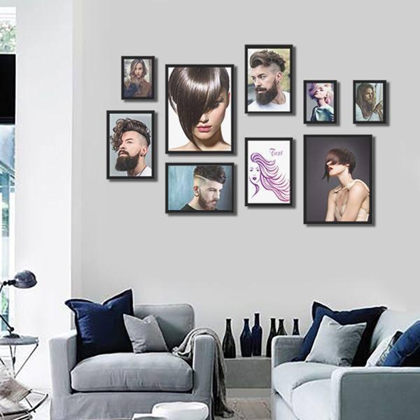 Bộ 9 khung tranh treo tường quán salon tóc MS094   Carehouse