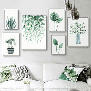 Bộ 6 tranh treo tường lá cây xanh ms0611