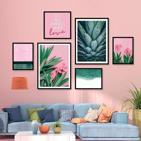 Bộ 6 khung tranh treo tường thiên nhiên xanh hồng ms06144