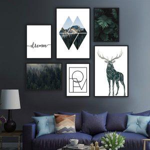 Bộ 6 khung tranh treo tường phòng khách thiên nhiên, động vật và chữ ms0615
