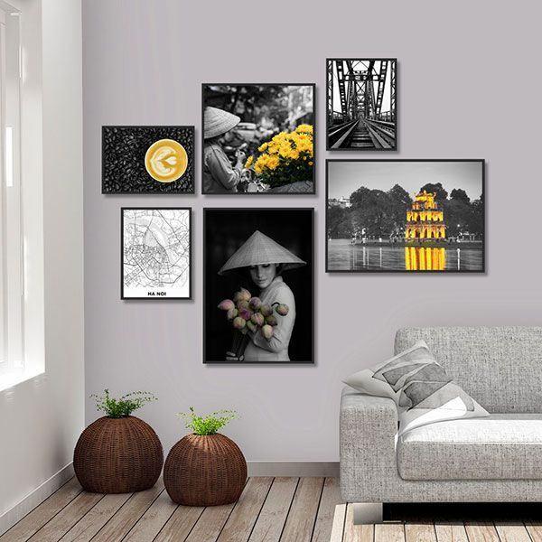 Bộ 6 khung tranh treo tường nét đẹp Hà Nội ms0617