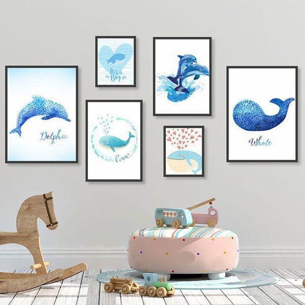 Bộ 6 khung tranh treo tường cá heo xanh ms0620
