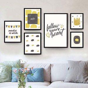 Bộ 6 khung tranh treo tường phòng khách đơn giản ms0623