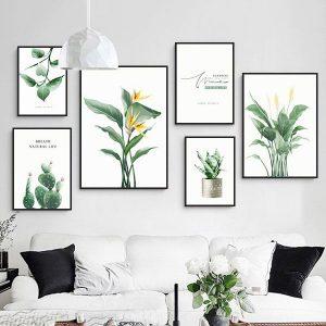 Bộ 6 tranh treo tường cây lá hoa xanh vàng ms0625