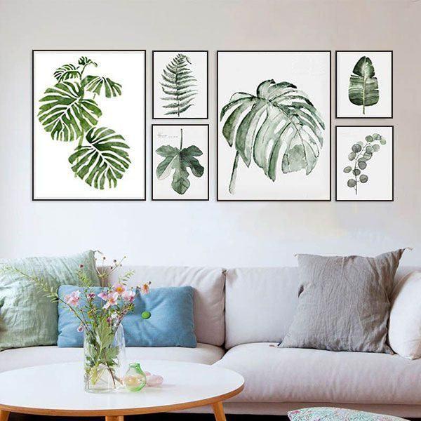 Bộ 6 tranh treo tường lá xanh ms0626