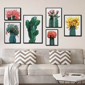 Bộ 6 khung tranh treo tường cây hoa xương rồng ms0627