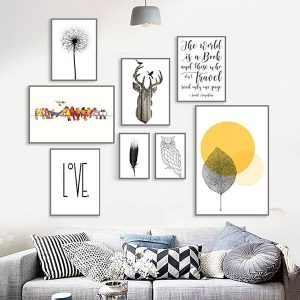 Bộ 8 khung tranh treo tường phòng khách độc đáo MS157