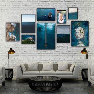 Bộ 9 khung tranh treo tường cảnh biển ms094