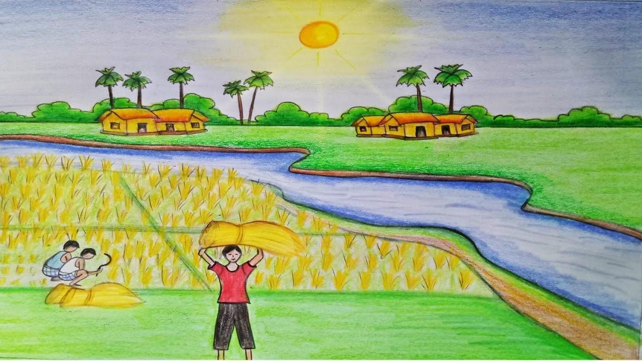 Tranh đồng lúa chín vàng học sinh vẽ