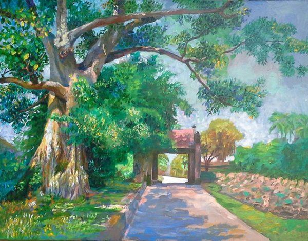 tranh sơn dầu làng cổ đường lâm